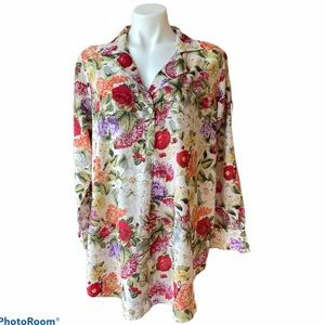 Soft Surroundings Floral Silk Blend Tunic Size XL